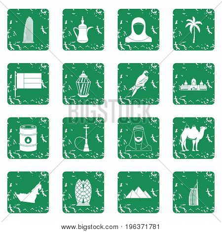 UAE travel icons set in grunge style green isolated vector illustration