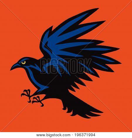 Raven Logo Angry Bird Sport Mascot. Vector illustration Design