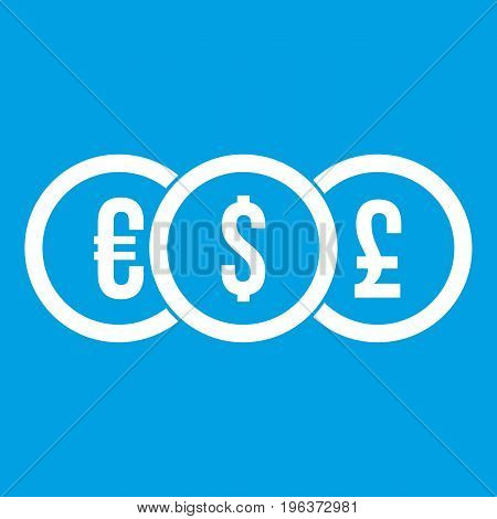 Euro, dollar, pound coin icon white isolated on blue background vector illustration