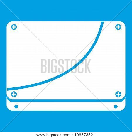 Database icon white isolated on blue background vector illustration
