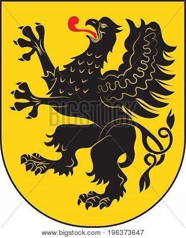 Coat of arms of Pomeranian Voivodeship Pomorskie Region or Pomerania Province in north-central Poland. Vector illustration from Giovanni Santi-Mazzini Heraldic 2003