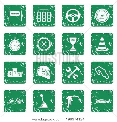 Racing speed icons set in grunge style green isolated vector illustration