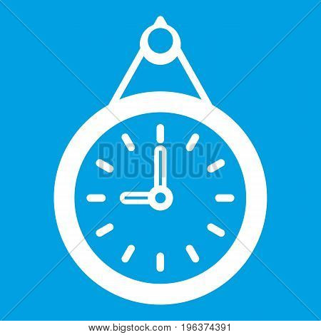 Clock icon white isolated on blue background vector illustration