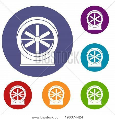 Fan icons set in flat circle red, blue and green color for web