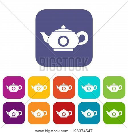 Teapot icons set vector illustration in flat style in colors red, blue, green, and other