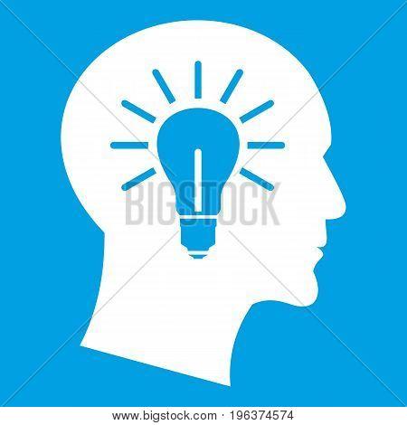 Light bulb inside head icon white isolated on blue background vector illustration
