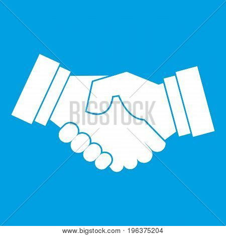 Handshake icon white isolated on blue background vector illustration