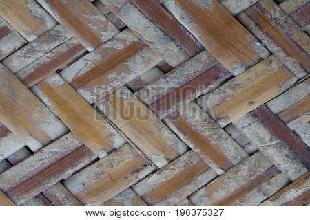 Close up old weave bamboo texture background