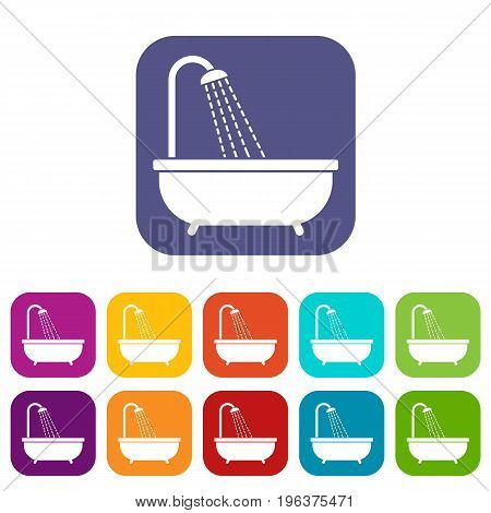 Shower icons set vector illustration in flat style in colors red, blue, green, and other