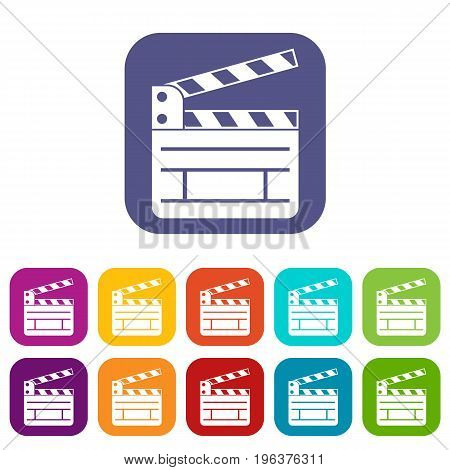 Clapperboard icons set vector illustration in flat style in colors red, blue, green, and other