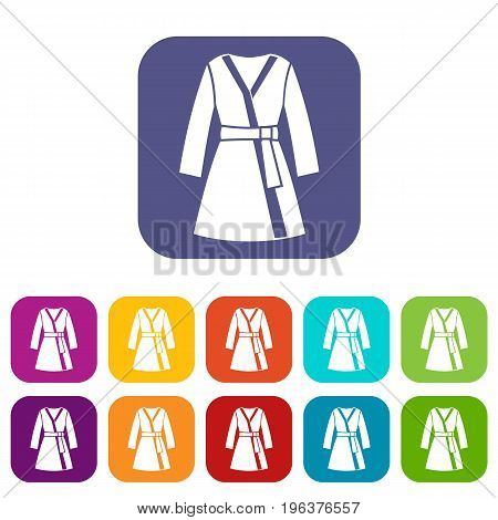 Bathrobe icons set vector illustration in flat style in colors red, blue, green, and other