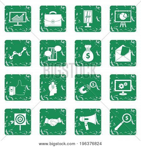 Marketing items icons set in grunge style green isolated vector illustration