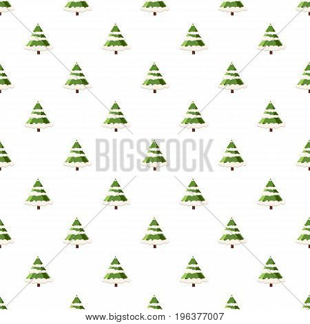 Fur tree in snow pattern seamless repeat in cartoon style vector illustration