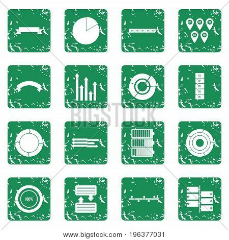 Infographic design parts icons set in grunge style green isolated vector illustration