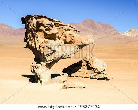 Arbol de Piedra, aka Stone Tree, in desert landscape of Andean Altiplano, Bolivia, South America.