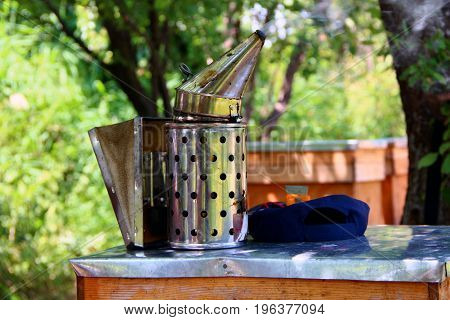 Bee Hive Smoker - beekeeping equipment in operation