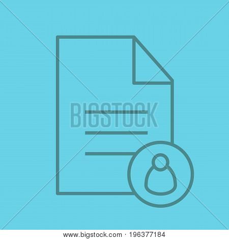 Personal document color linear icon. Document with user. Thin line outline symbols on color background. Vector illustration