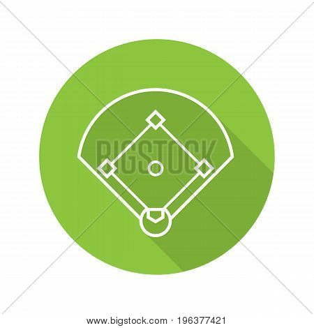 Baseball field flat linear long shadow icon. Softball field scheme. Vector outline symbol