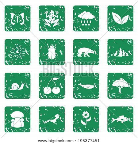 Nature items icons set in grunge style green isolated vector illustration