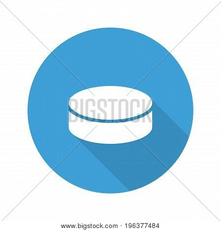 Hockey puck flat design long shadow glyph icon. Vector silhouette illustration