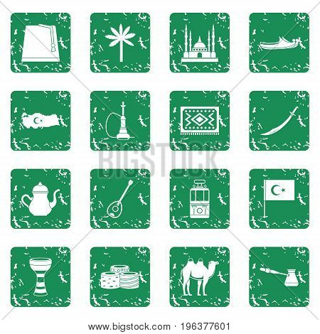 Turkey travel icons set in grunge style green isolated vector illustration