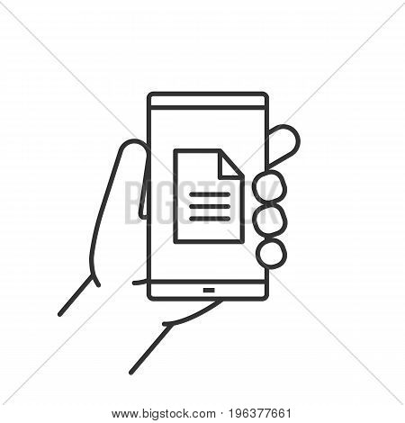 Hand holding smartphone linear icon. Thin line illustration. Smart phone document contour symbol. Vector isolated outline drawing