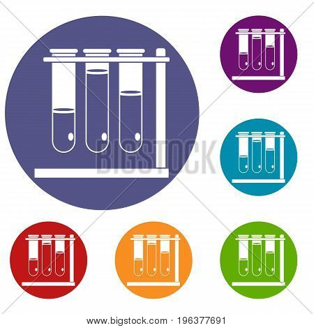 Three beakers icons set in flat circle red, blue and green color for web