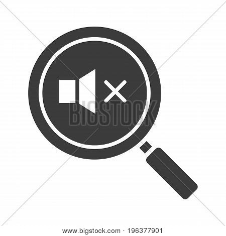 Magnifying glass with loudspeaker glyph icon. Silhouette symbol. Sound off. Negative space. Vector isolated illustration
