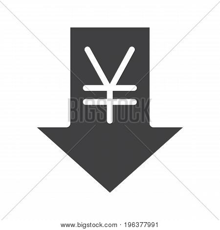 Yen rate falling glyph icon. Silhouette symbol. China and Japan currency with down arrow. Negative space. Vector isolated illustration
