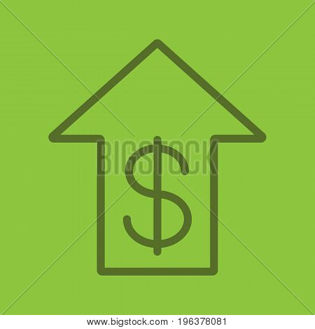 Dollar rate rising color linear icon. US dollar with up arrow. Thick line outline symbols on color background. Vector illustration