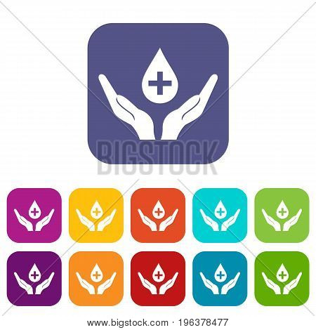 Hands holding blood drop icons set vector illustration in flat style in colors red, blue, green, and other
