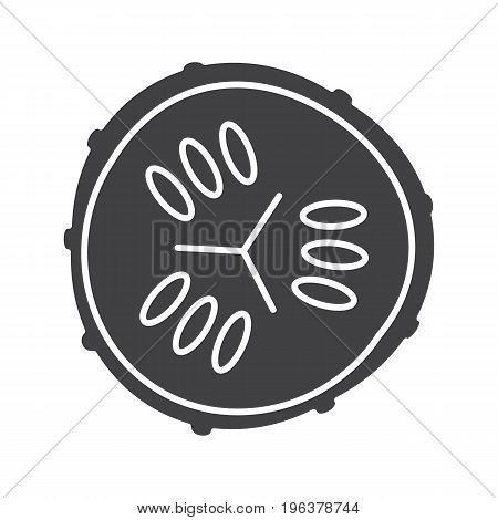 Cucumber slice glyph icon. Silhouette symbol. Spa. Cucumber facial mask. Negative space. Vector isolated illustration