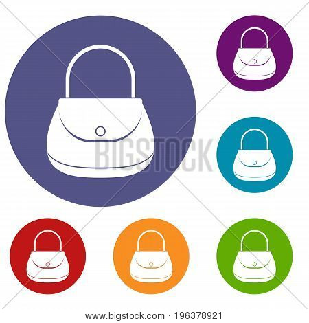 Woman bag icons set in flat circle red, blue and green color for web