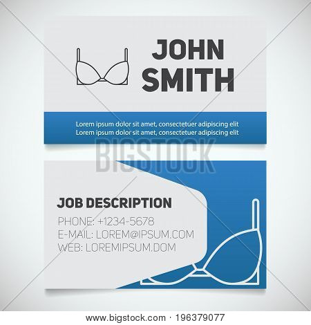 Business card print template with brassiere logo. Women's underwear shop. Stationery design concept. Vector illustration