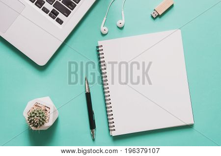 Office Workplace Concept. Computer Laptop With Blank Notebook, Cactus, Pen, Flash Drive, Earphone On