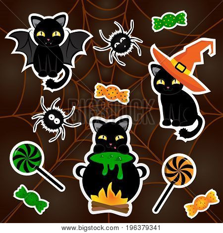 Sketch comics Set of stickers with net, spider, cats, hat, candy. Girlish, boyish halloween elements in bright colors.