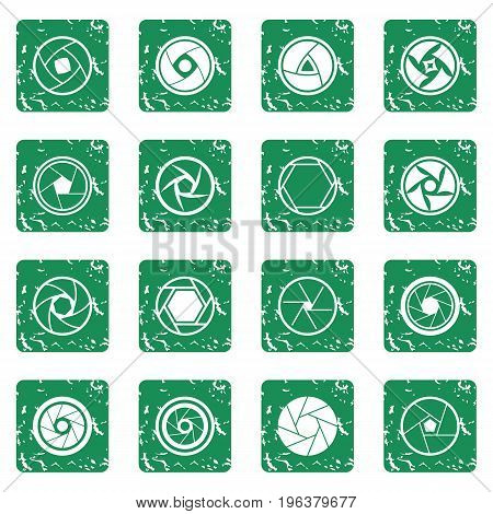 Photo diaphragm set in grunge style green isolated vector illustration