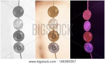 Virtual Coins Bitcoins Collection Collage