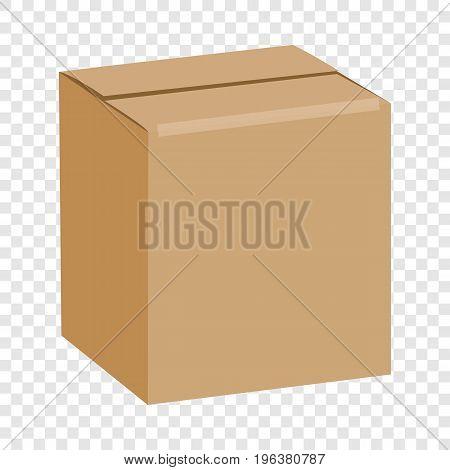 Brown sealed square box mockup. Realistic illustration of brown sealed square box vector mockup for web