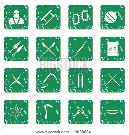 Ninja tools icons set in grunge style green isolated vector illustration