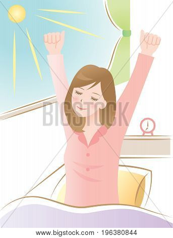 woman wake up in the morning and stretch herself