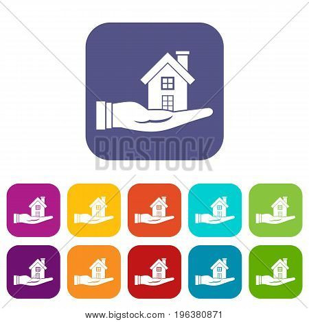 House in hand icons set vector illustration in flat style in colors red, blue, green, and other