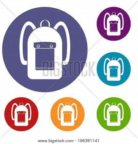 Backpack icons set in flat circle red, blue and green color for web