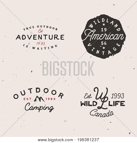 Adventure themed logotypes, retro logo templates in minimal vintage style. Simple badges.