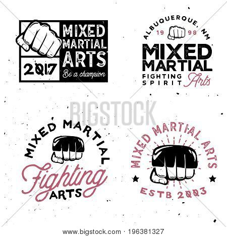 MMA logo templates in vintage style. Retro mixed martial arts badges.