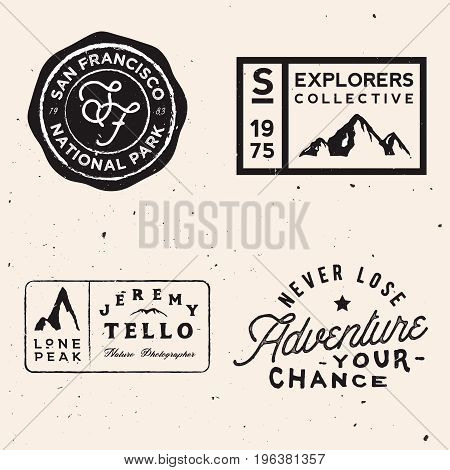 mountain logotypes. Adventure logo templates on travel theme. Vector stock
