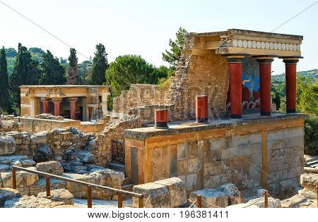 The North Entrance of the Palace with charging bull fresco in Knossos at Crete,