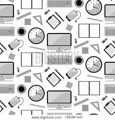 Vector illustration of seamless pattern background with school supplies. Pen pencil ruler paper brush textbook notebook in flat design style. In gray.