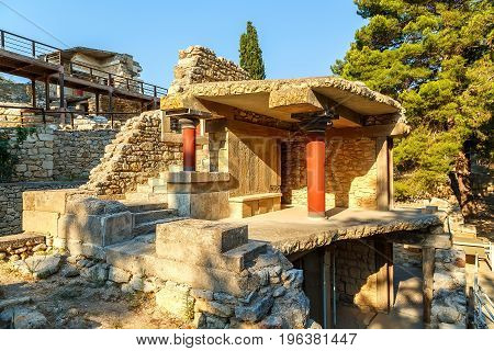 Ancient ruins of famous Knossos palace in Crete