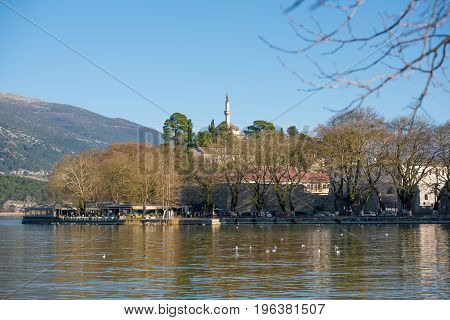 View of Ioannina city on lake Pamvotis. Grecce